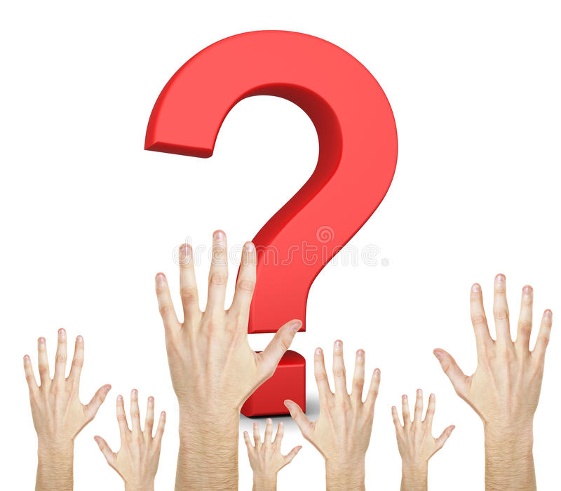 Question mark and hands stock image