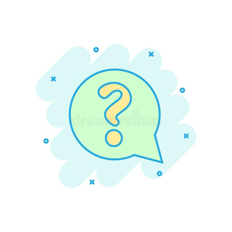 Question mark icon in comic style. Discussion speech bubble vector cartoon illustration pictogram. Question business concept vector illustration
