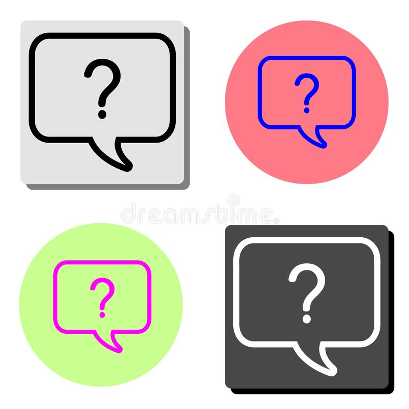 Question mark icon. Help speech bubble. flat vector icon royalty free illustration