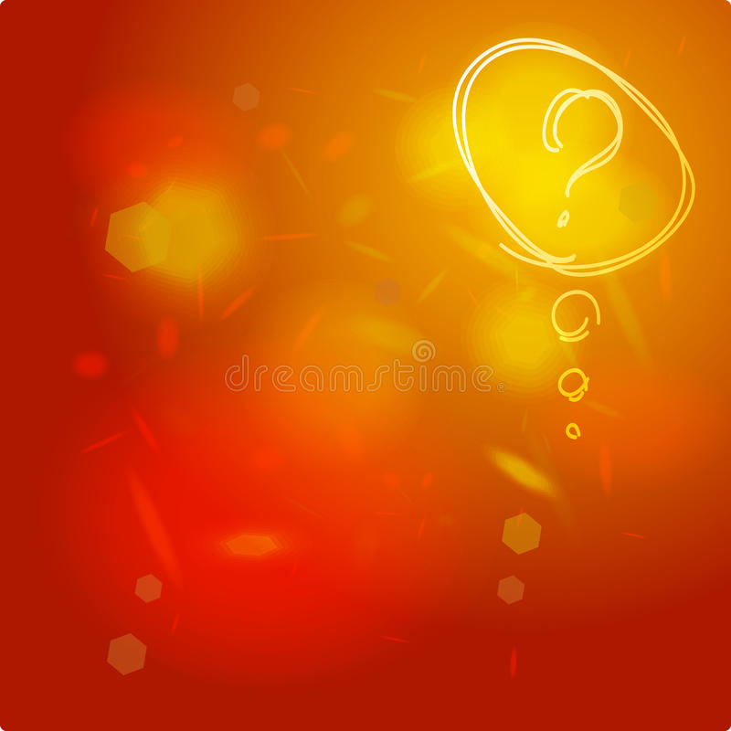 Question mark icon sketch. Help symbol. FAQ sign. On orange red abstract background royalty free illustration