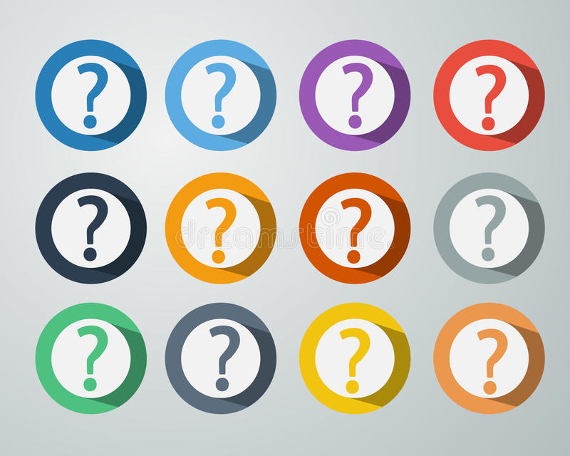 Question Mark Icon Symbol. Set of Question Mark Icon Symbol on Colorful Circle Background with Long Shadow royalty free illustration