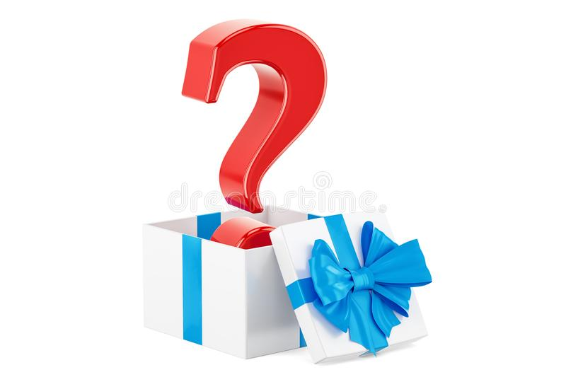 Question mark inside gift box, What to gift concept. 3D rendering. Isolated on white background stock illustration