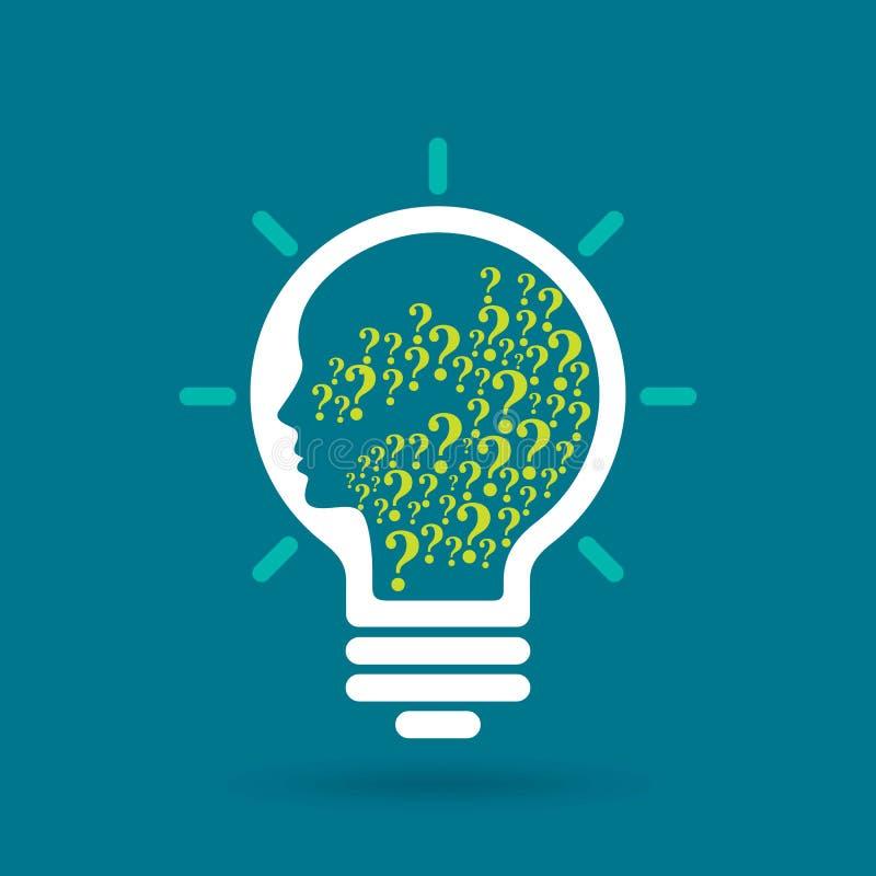Question mark man head symbol and light bulb shape royalty free illustration