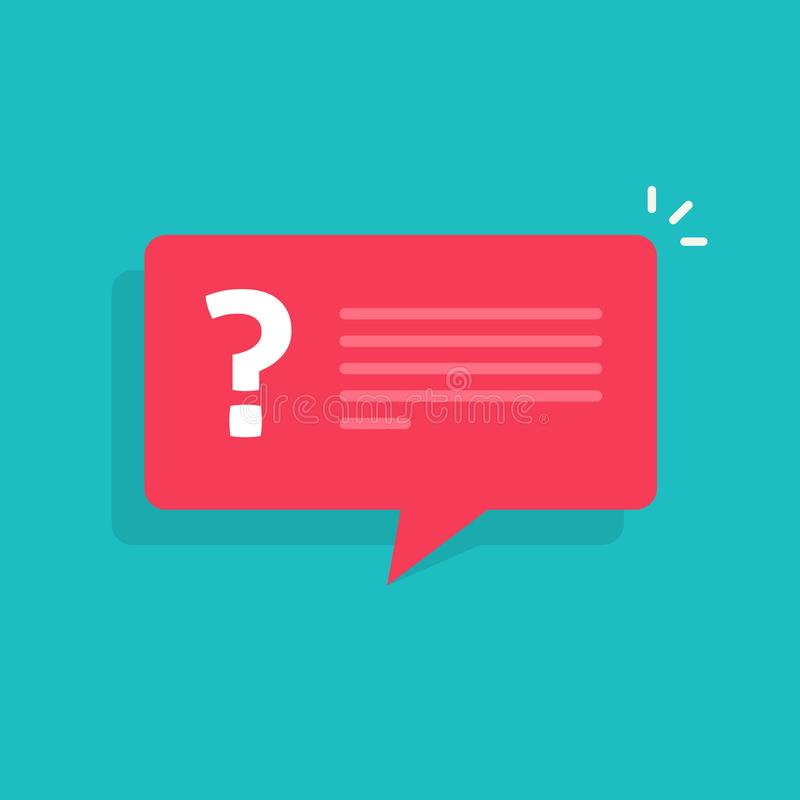 Question mark notification bubble speech vector sign, flat cartoon question or answer message balloon icon or pictogram royalty free illustration
