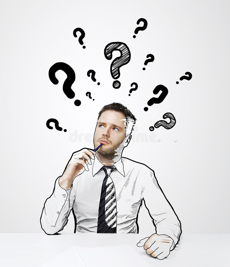 Question mark over head stock images