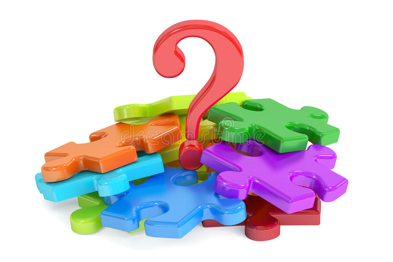 Question mark puzzle, 3D rendering. On white background stock photo