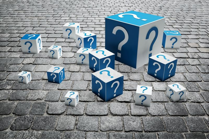 Question mark. Asking faq problems cube support three-dimensional shape royalty free stock photos