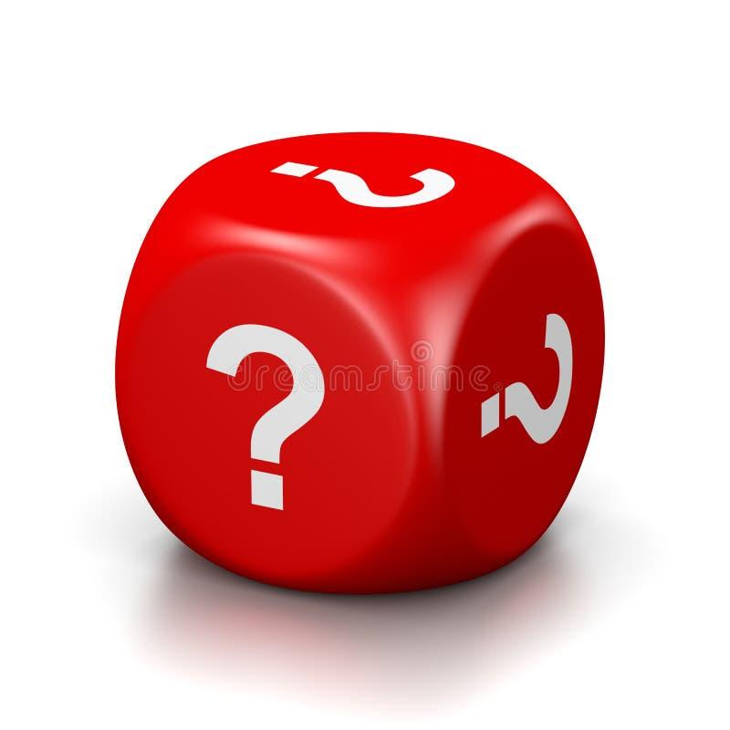 Question Mark Red Dice illustration de vecteur