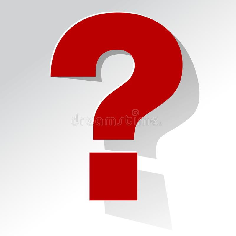 Question Mark red on a white background stock illustration