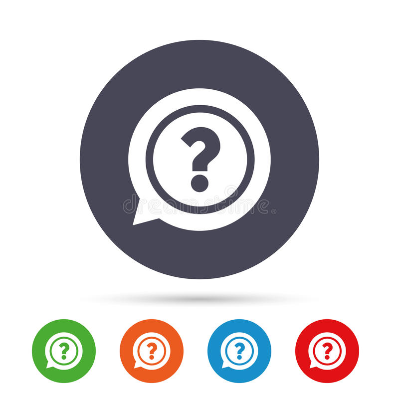 Question mark sign icon. Help symbol. Question mark sign icon. Help speech bubble symbol. FAQ sign. Round colourful buttons with flat icons. Vector stock illustration