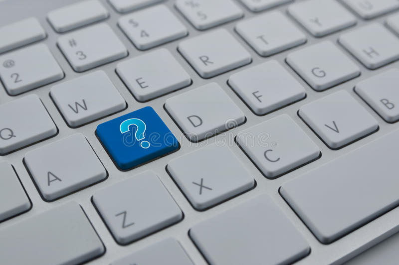 Question mark sign icon on modern computer keyboard button, Customer support concept royalty free stock image