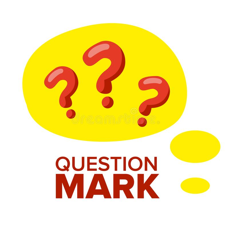 Question Mark Sign Icon Vector. Thinking Concept. Find Idea, Solution. Isolated Flat Cartoon Illustration stock illustration