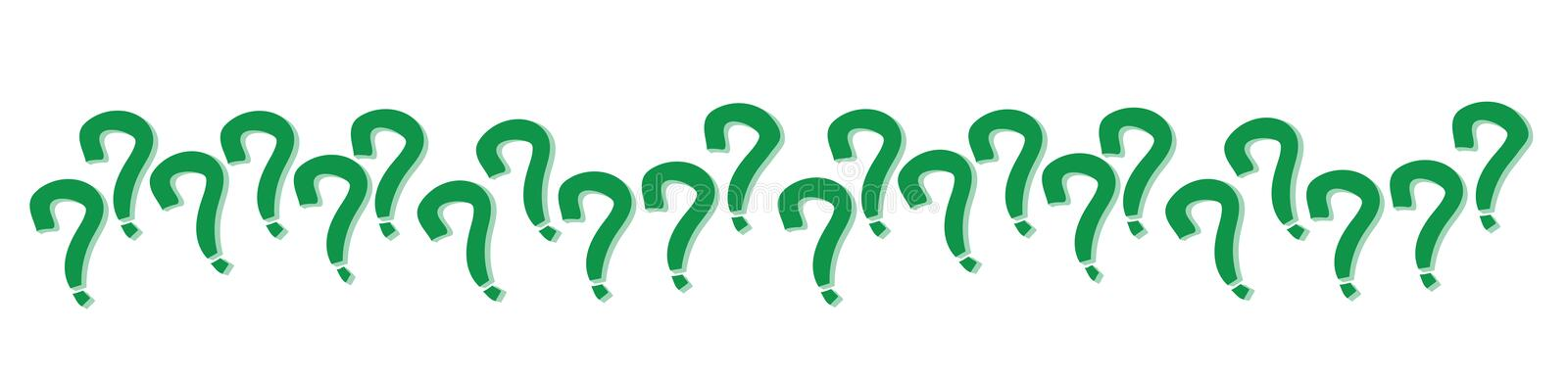 Question mark signs in green color aligned randomly in a series pattern with shadow isolated on a white transparent seamless wide. Banner background. Vector stock illustration