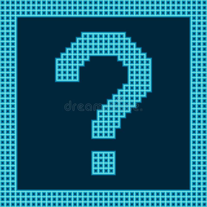Question Mark Symbol on a Grid Digital Display. Blue question mark symbol on a grid digital display royalty free illustration