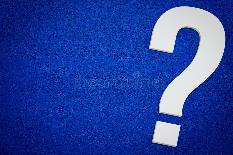 Question mark symbol in minimalist white grey color 3D isolated on simple dark blue background diagonally with empty copy space stock photo