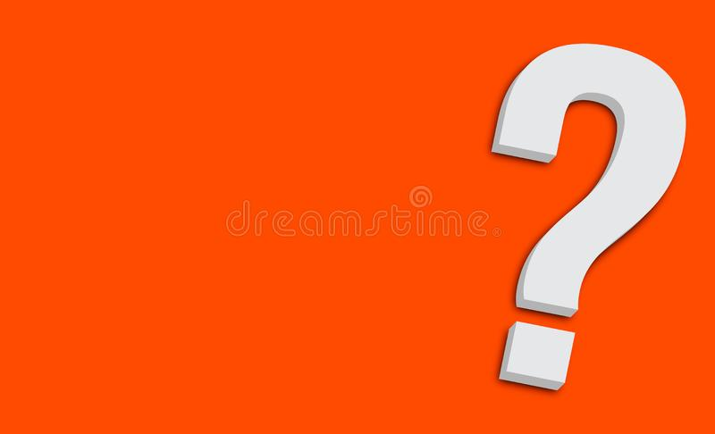 Question mark symbol in minimalist white grey color 3D isolated on simple minimal vivid orange clean background diagonally. And with large empty copy space for royalty free illustration