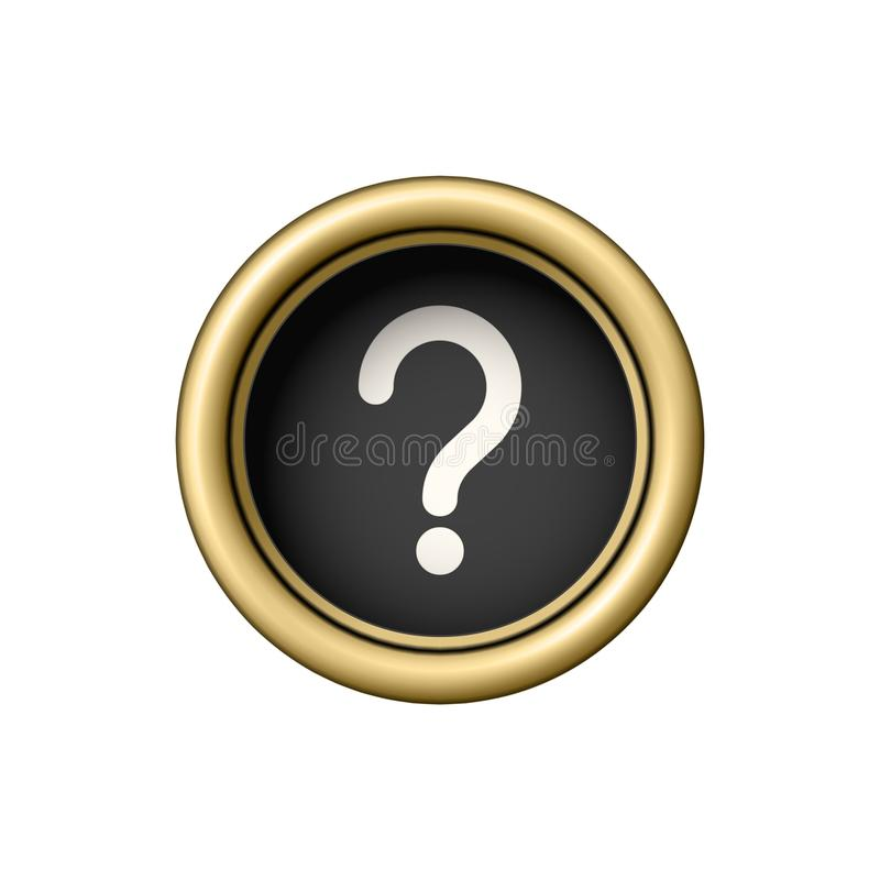 Free Question Mark Symbol. Vintage Golden Typewriter Button. Stock Photography - 108329512