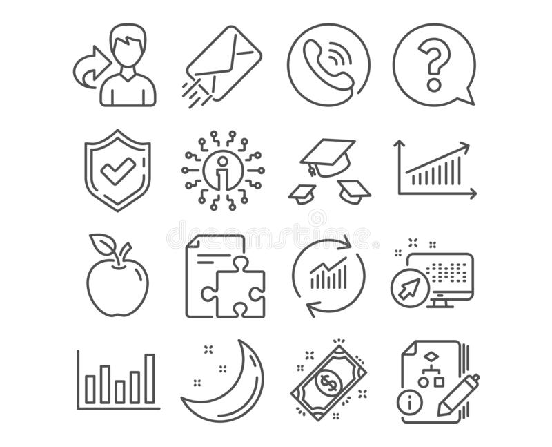Question mark, Throw hats and Strategy icons. Column chart, Payment and Algorithm signs. Vector royalty free illustration