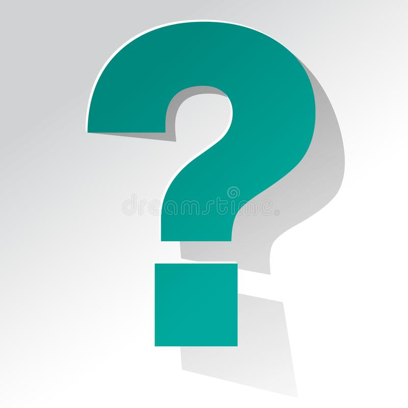 Question Mark turquoise on a white background royalty free illustration