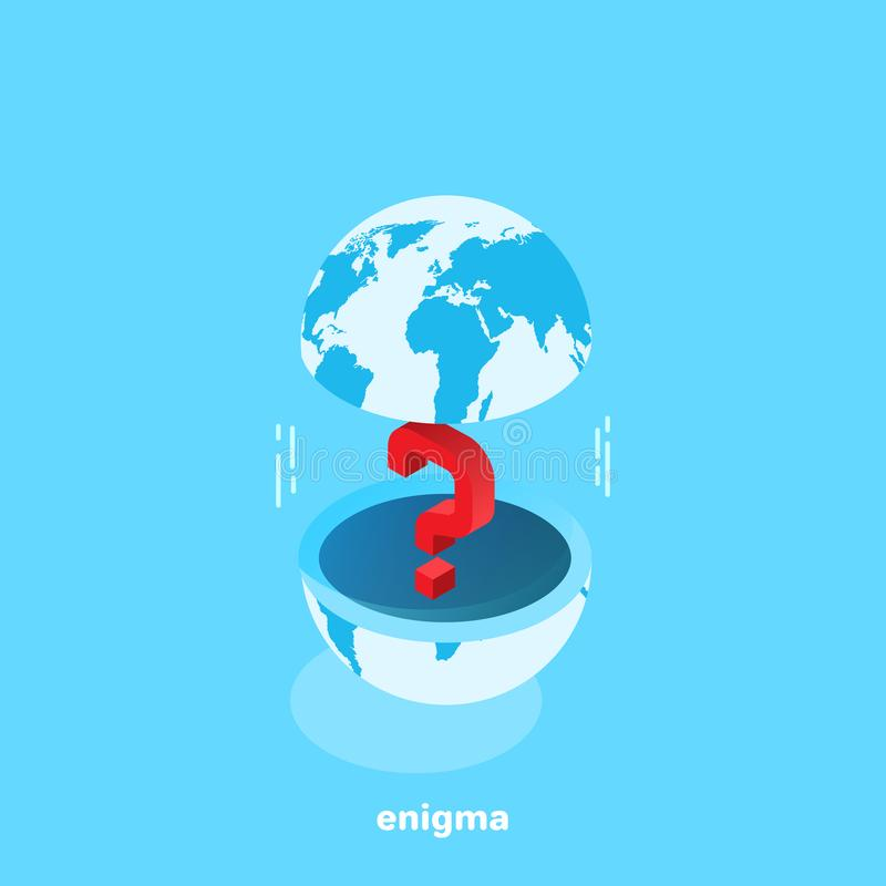 Question mark between the upper and lower halves of the globe royalty free illustration