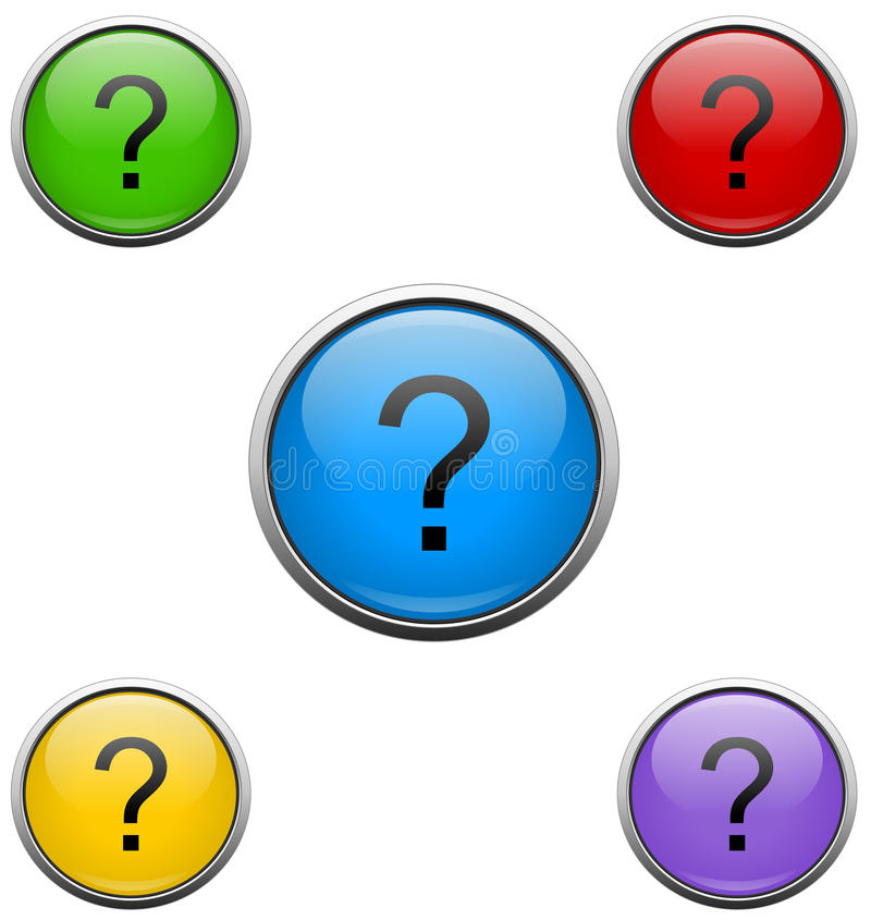 Question mark web buttons vector illustration