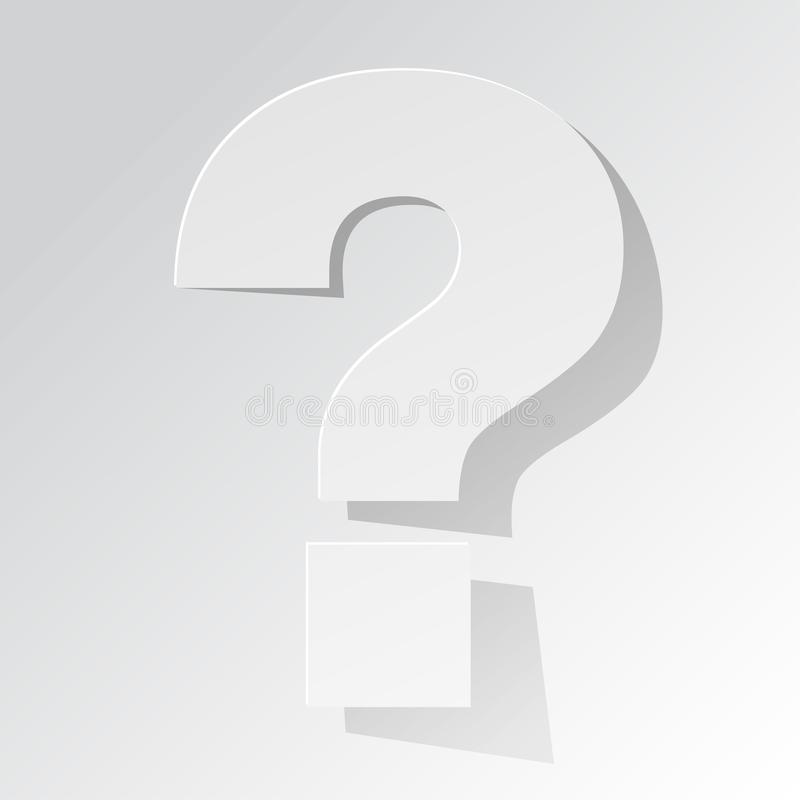 Question Mark white on a white background stock illustration