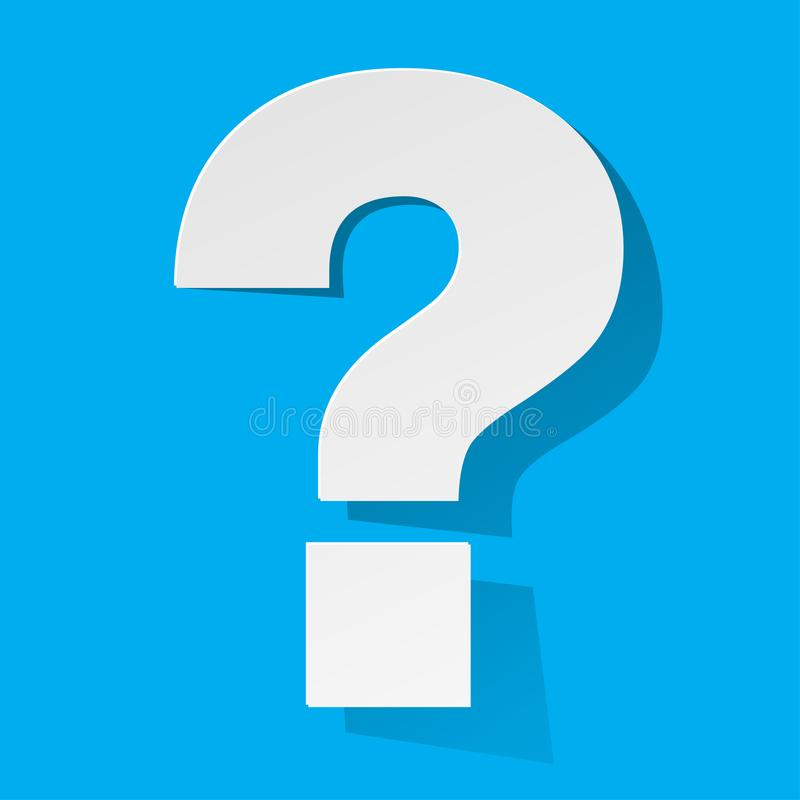 Question Mark white Paper on a blue background royalty free illustration