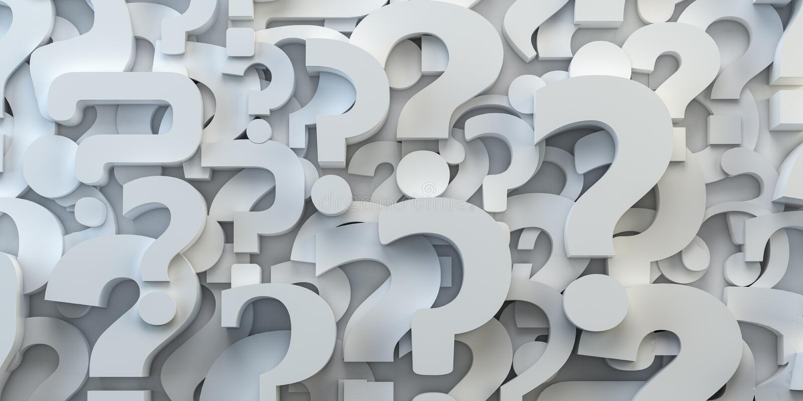 Question marks backround. FAQ, decision and confusion concept. 3d illustration stock illustration