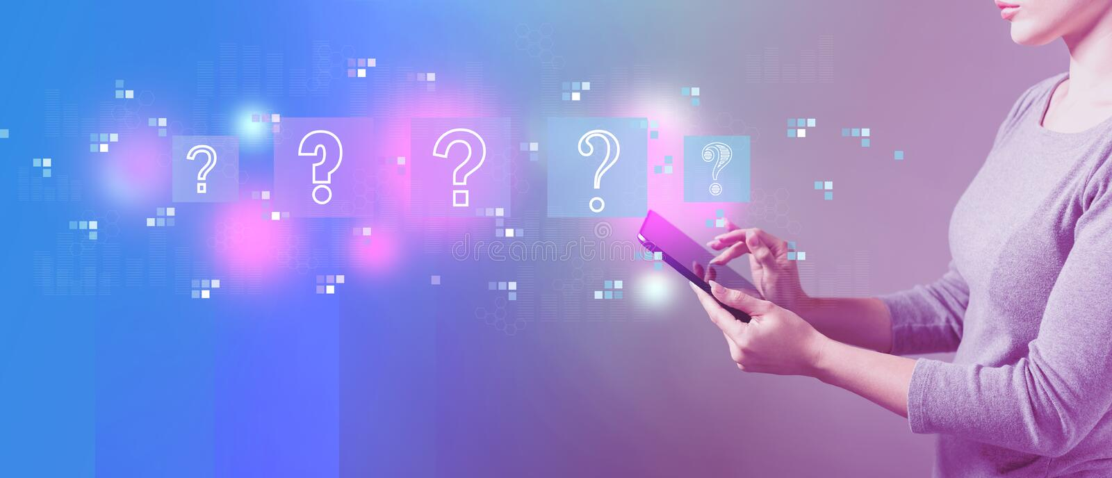 Question marks with woman using a tablet. Question marks with business woman using a tablet computer royalty free illustration