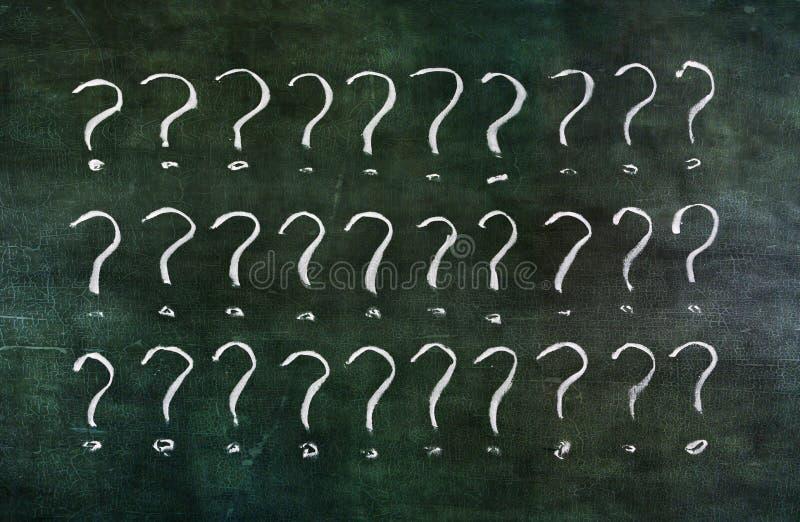 Question marks on grungy blackboard. stock illustration