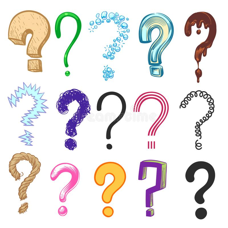 Question marks. Hand drawn color interrogation icons, sketch ask question symbols. Doodle vector set royalty free illustration