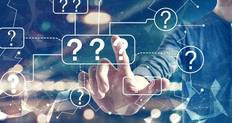 Question marks with a man on city background royalty free stock image