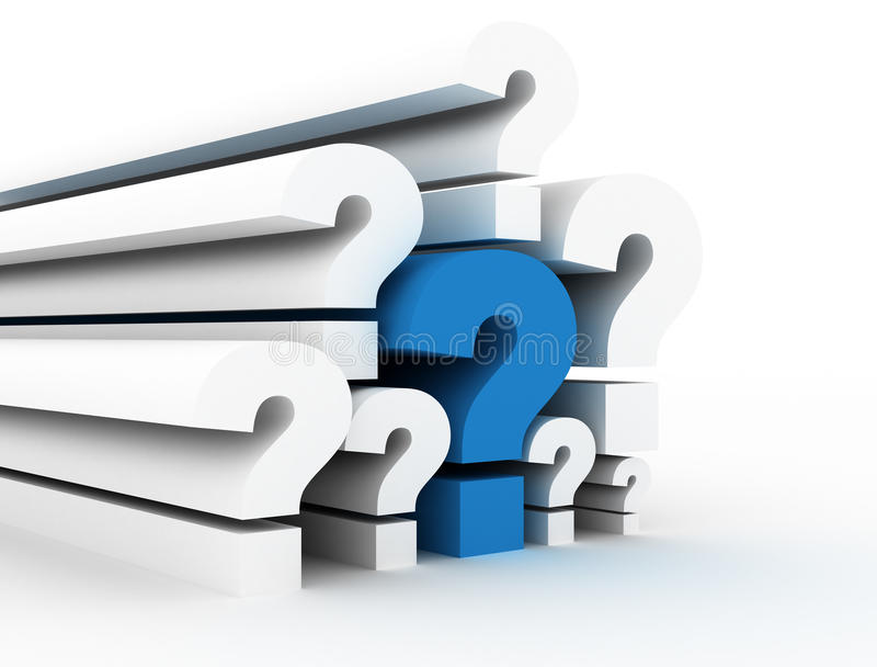 Question marks single blue stock photography