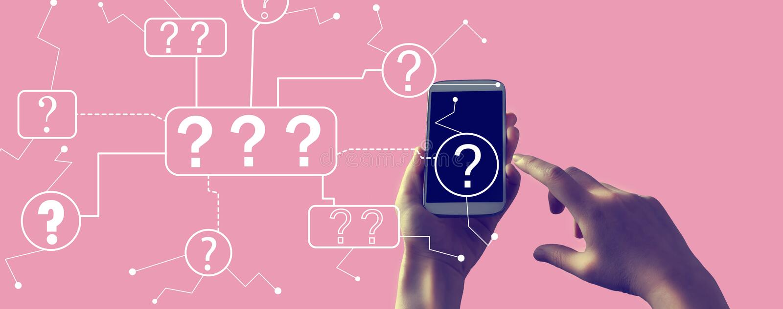 Question marks with smartphone. Question marks with person holding a white smartphone royalty free illustration