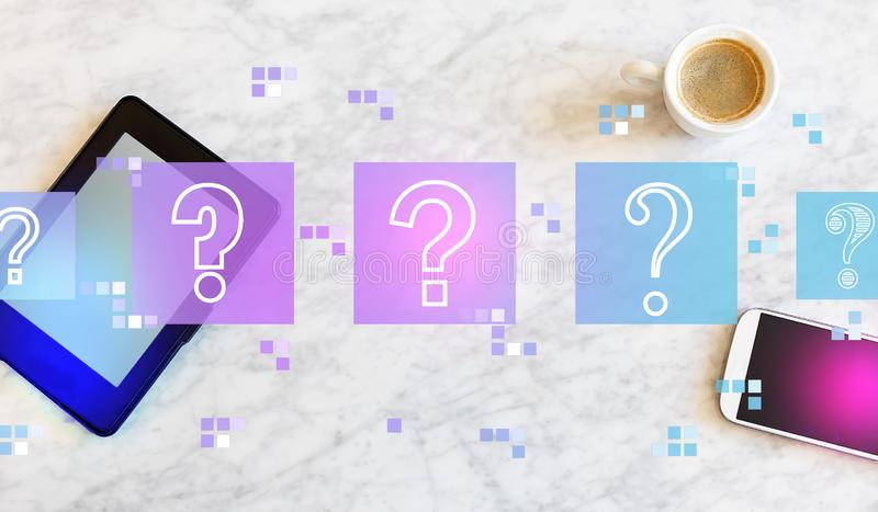 Question marks with tablet and phone. Question marks with a tablet computer and smart phone vector illustration