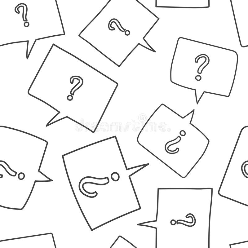 Question marks in thought bubbles seamless pattern background. B stock illustration