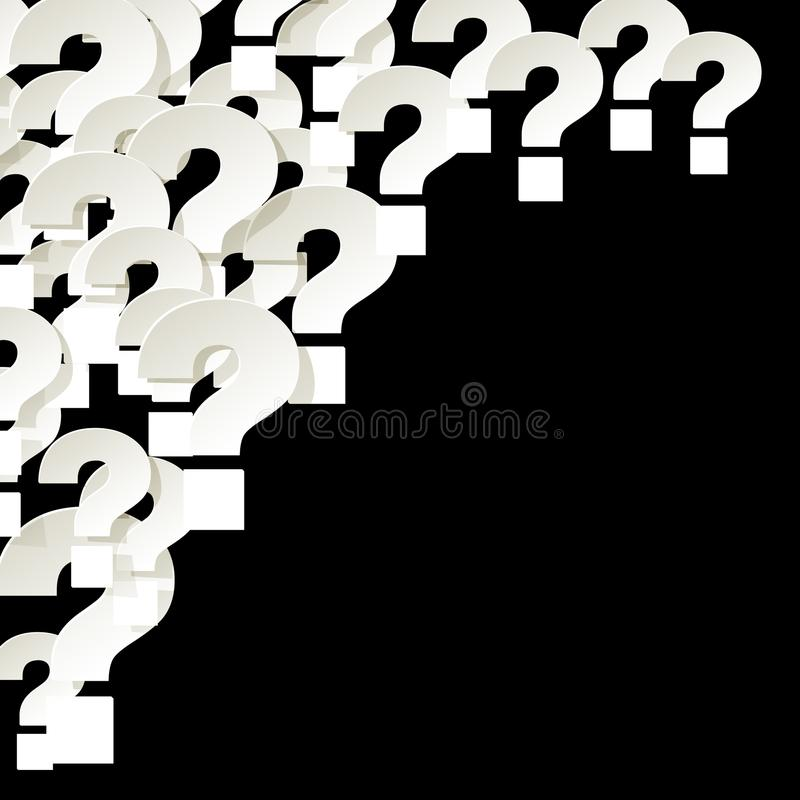 Question Marks white in the corner on a black background stock illustration