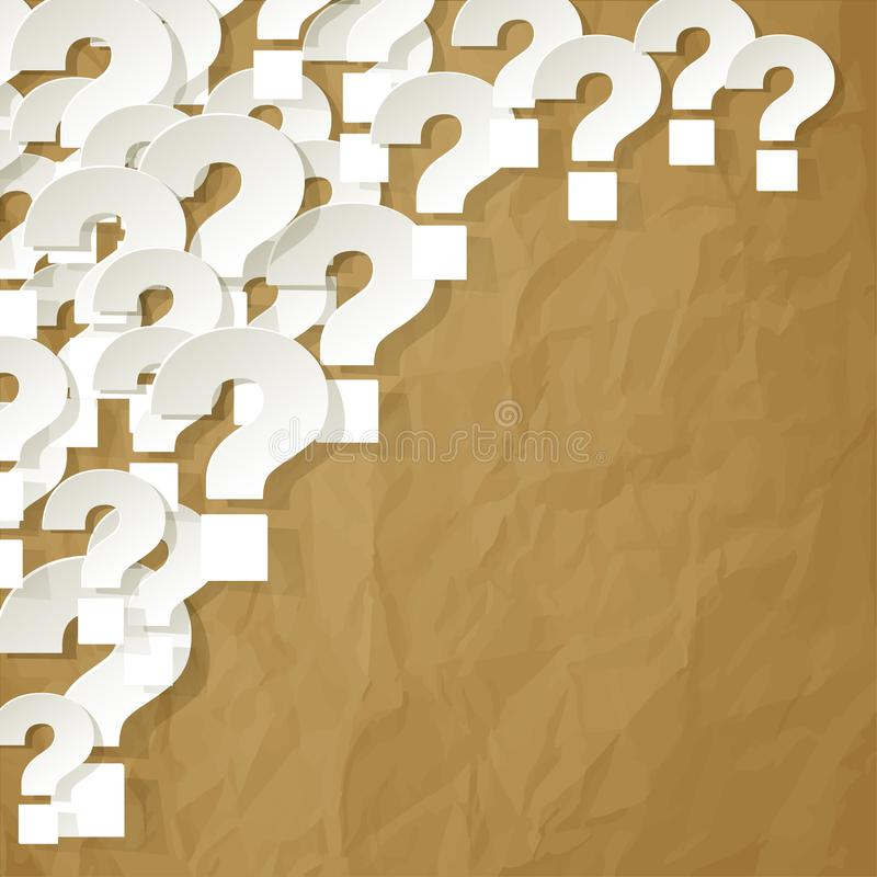 Question Marks white in the corner on a crumpled paper brown background vector illustration