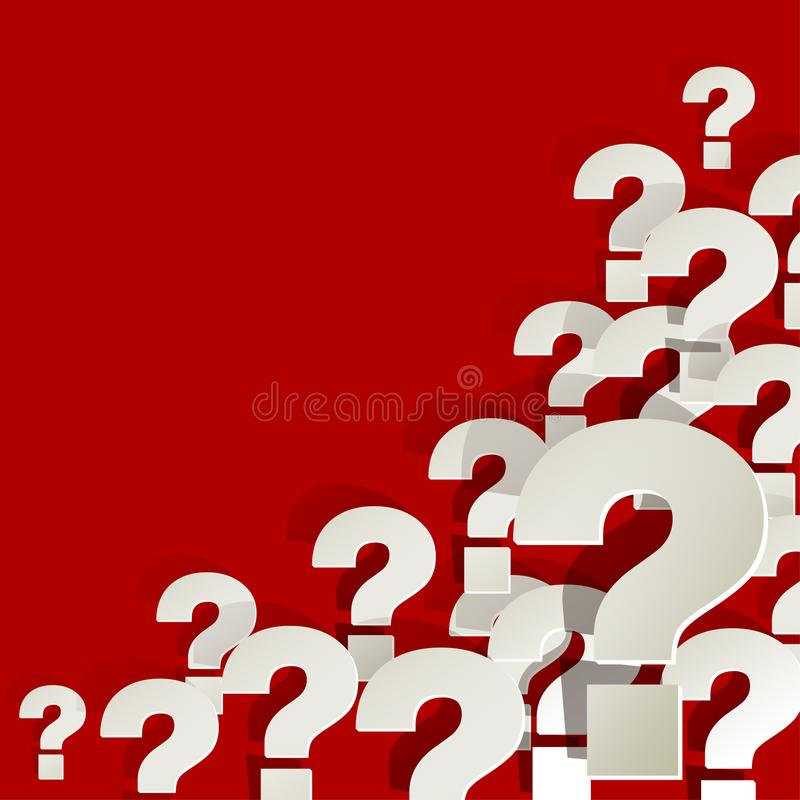 Question Marks white in the corner on a red background royalty free illustration
