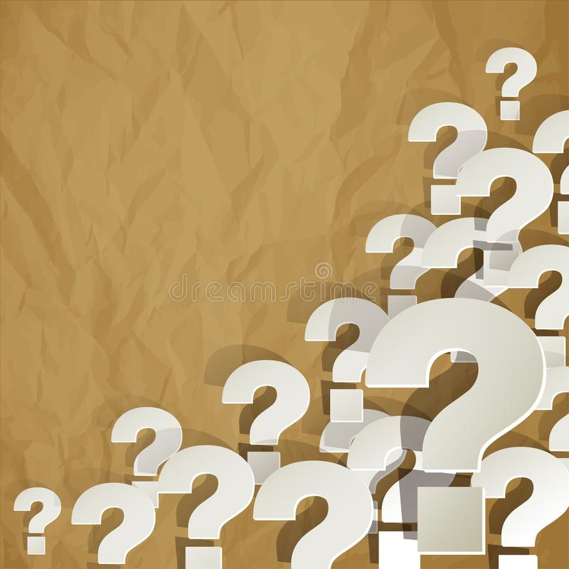 Question Marks white in the corner on a white on a on crumpled paper brown background vector illustration