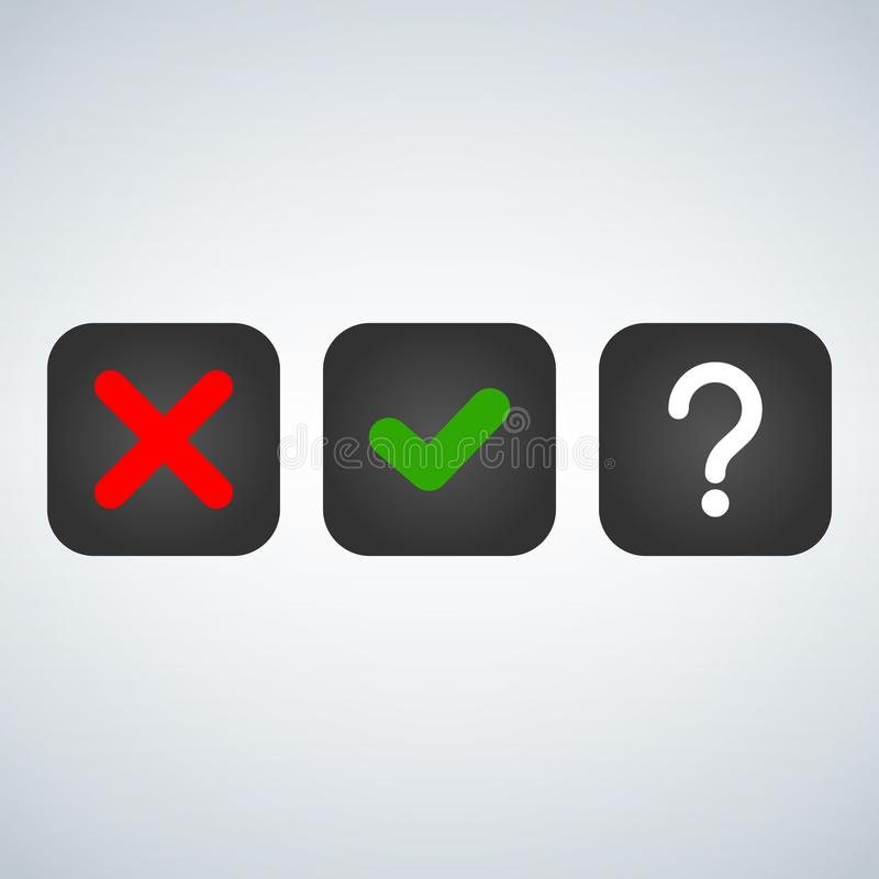Question, red X and green tick check marks, approval signs design. Red X and green OK symbol icons in square check boxes. choice o. Question, red X and green stock illustration