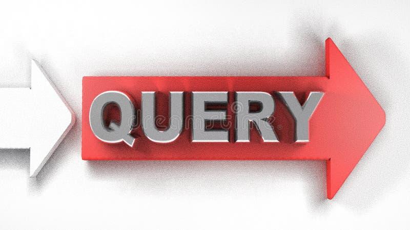 QUESTION rouge de flèche - illustration du rendu 3D illustration stock