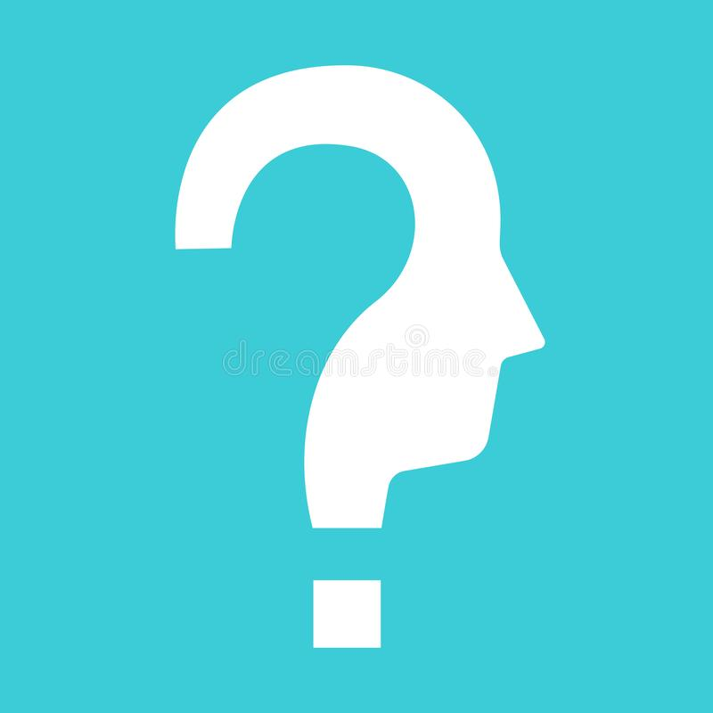Question shaped head silhouette royalty free illustration