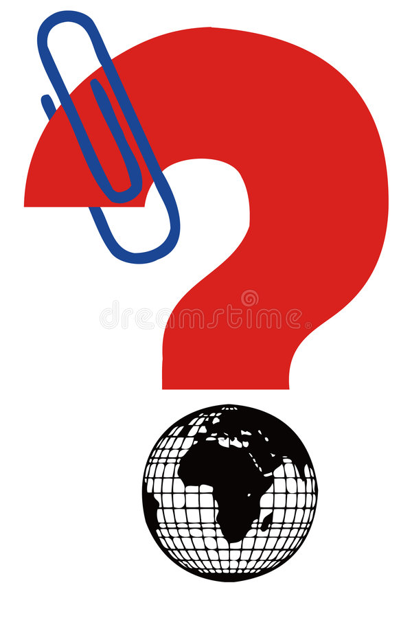 Question sign and earth. Earth and question sign ,question concept vector illustration