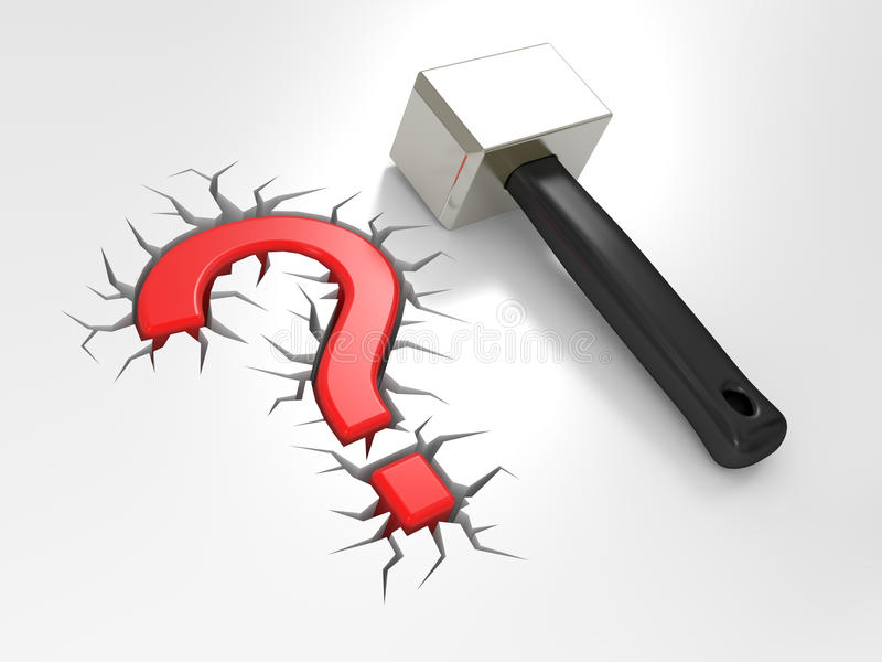 Download Question sign and mallet stock illustration. Image of hammer - 19162987