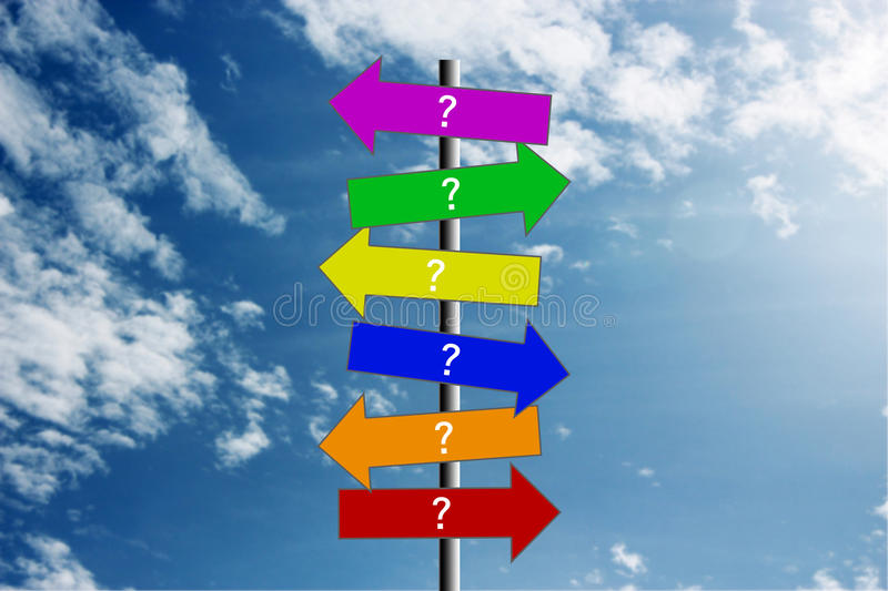 Question signs stock images