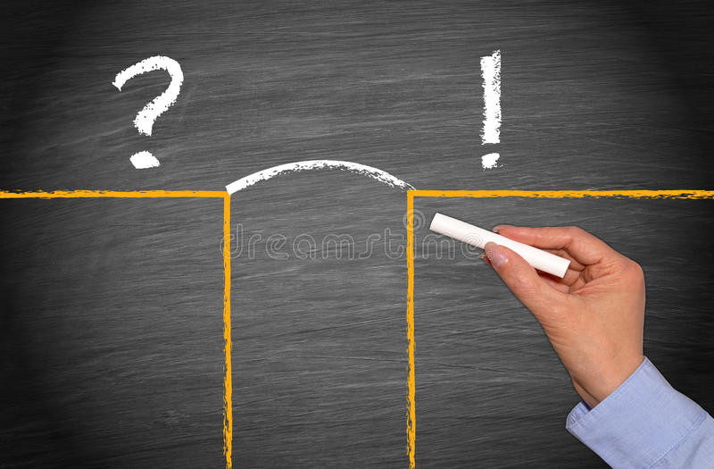 Question and solution stock photography