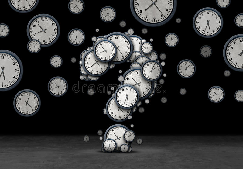 Question Time Concept. Time questions concept as a group of floating clocks and timepieces shaped as a question mark as a metaphor for deadline or business stock illustration
