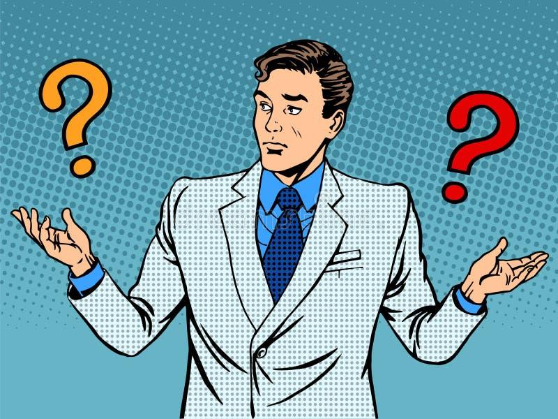 Questiona o engano do homem de negócios ilustração do vetor
