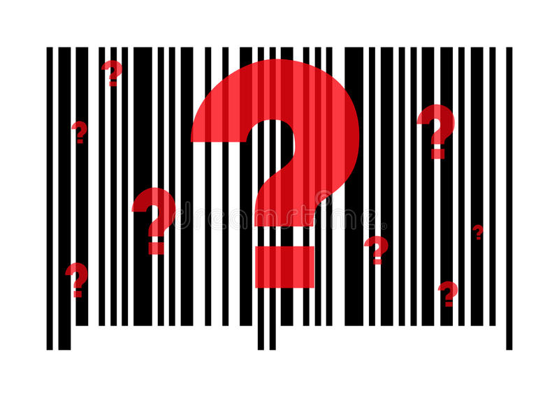 Questionable Barcode. A standard barcode with question marks against a white background stock illustration